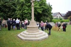 Informal gathering around the memorial