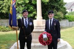 Mick Brett (British Legion Standard Bearer) with Pete Hughes  (British Legion Wreath Bearer) (L-R)