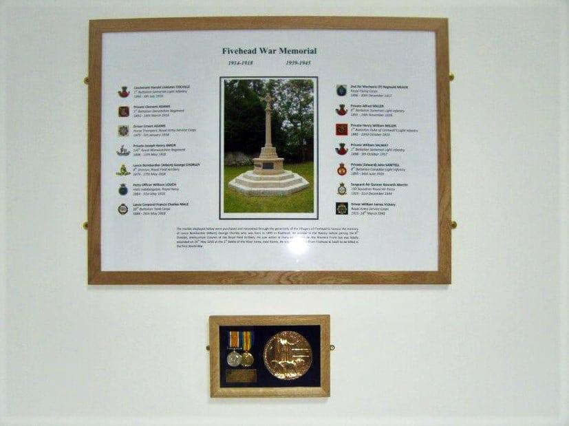 Medals of Lance Bombardier (Albert) George Chorey in Village Hall